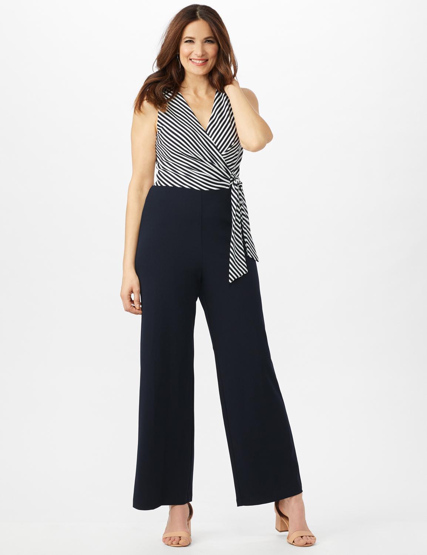 Faux Wrap Side Tie Jumpsuit -Navy/Ivory - Front