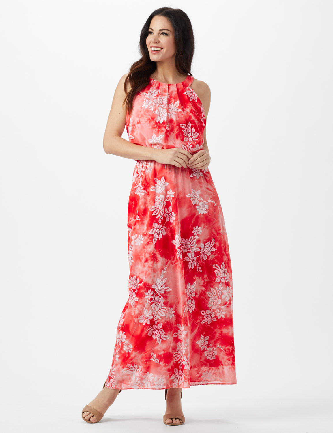Petite Tie Dye  Floral Maxi Dress - Red - Front