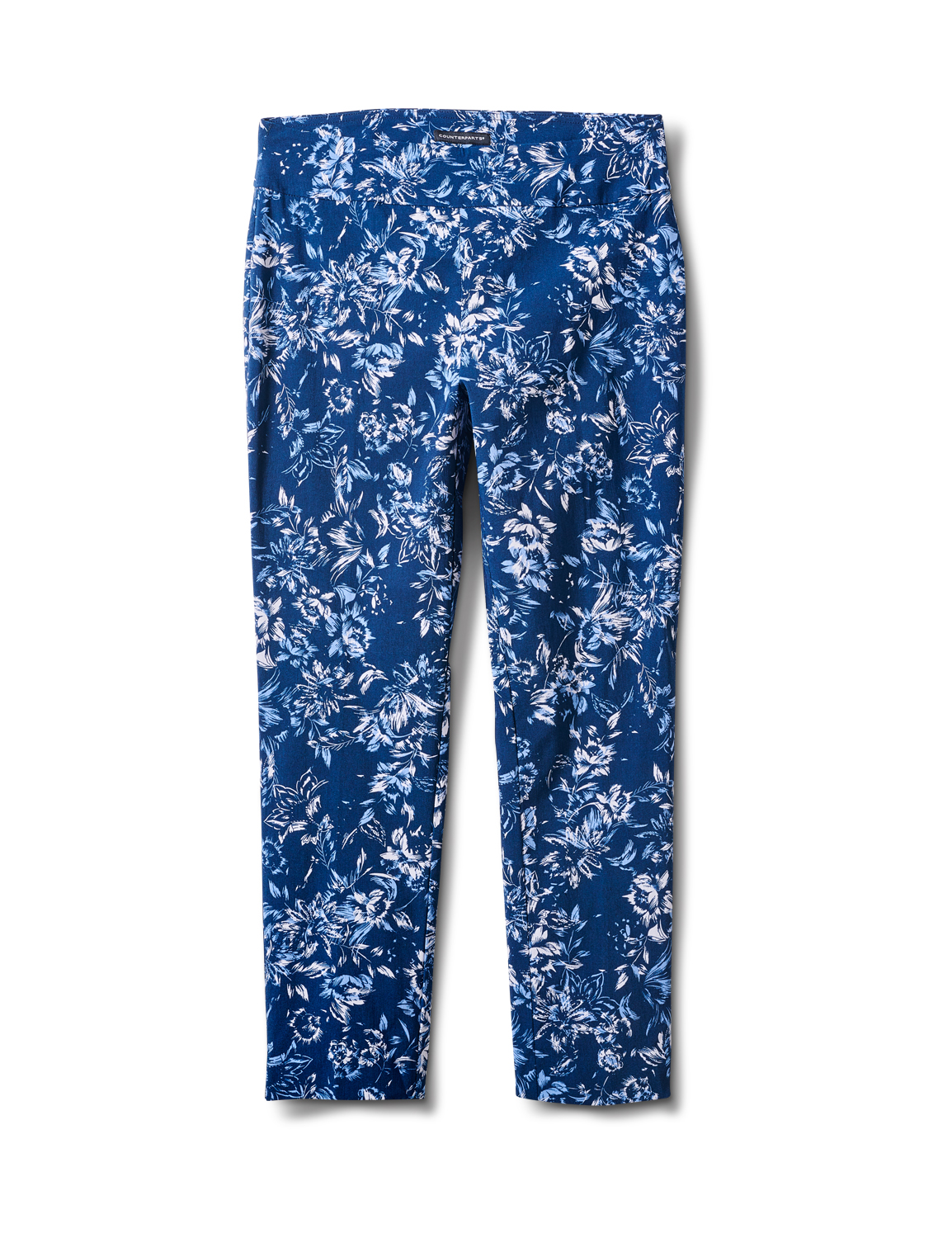 Pull On Floral print Ankle Pants -Blue Floral - Front