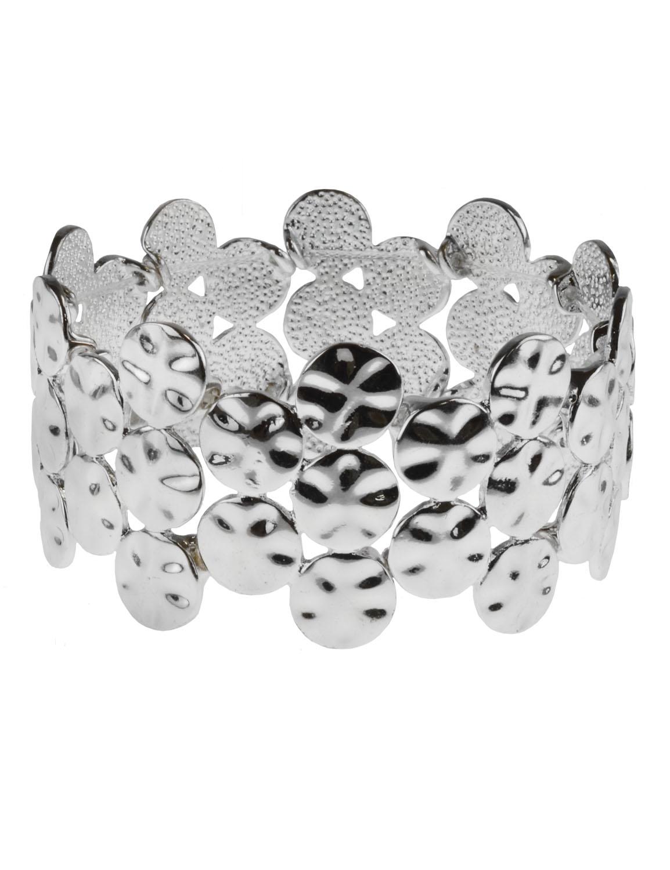 Hammered Casting Stretch Bracelet - Silver Plating - Front