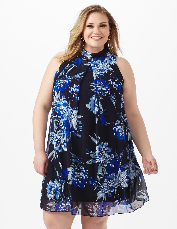 Sleeveless Chiffon Puff Print Flower Mock Neck Dress -Navy - Front