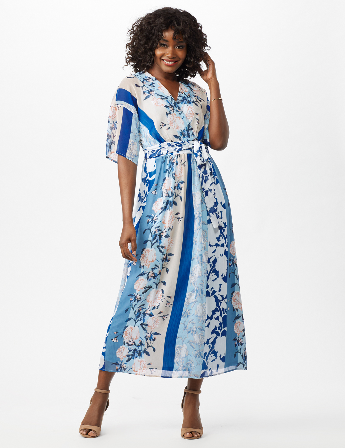 Floral Stripe Patio Dress -Sky Blue/Multi - Front