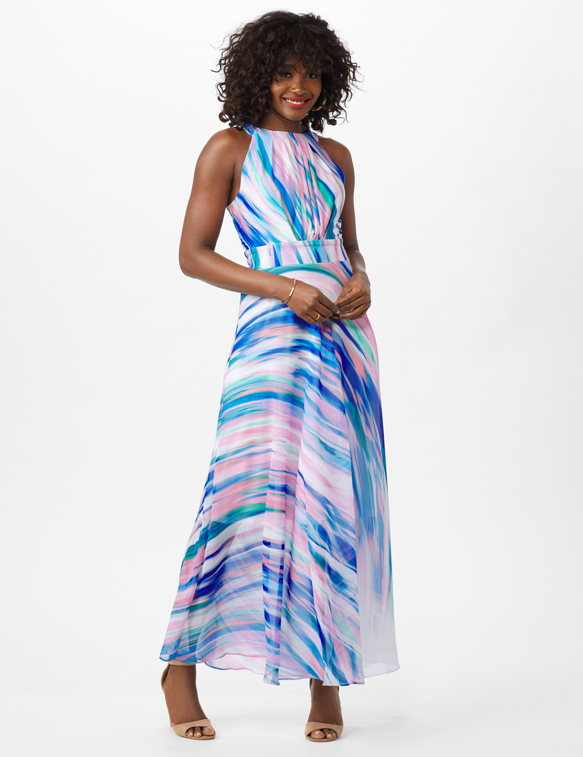Watercolor Swirl Print Patio Dress -Black/Pink/Multi - Front