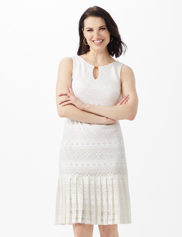 Sleeveless Key Hole Neck Pleated Hem Lace Dress -Ivory - Front