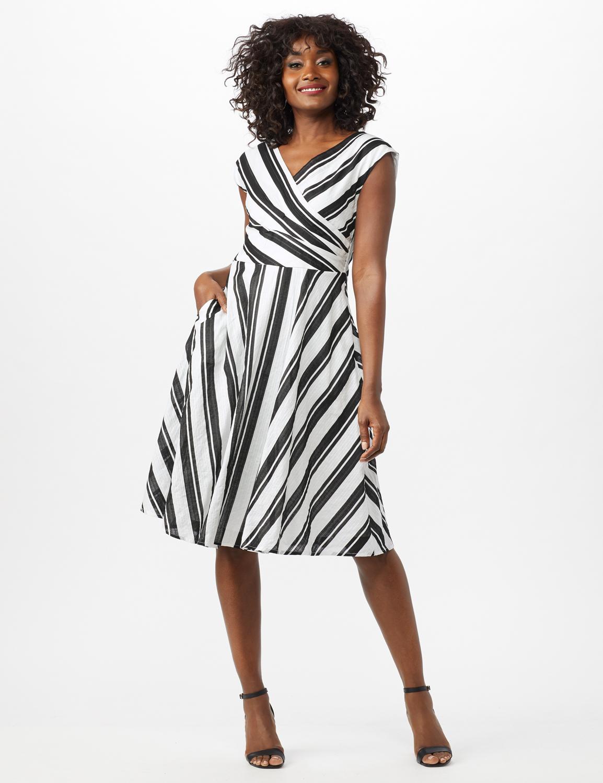 Stripe Textured Cotton Faux Wrap Dress -White/Black - Front