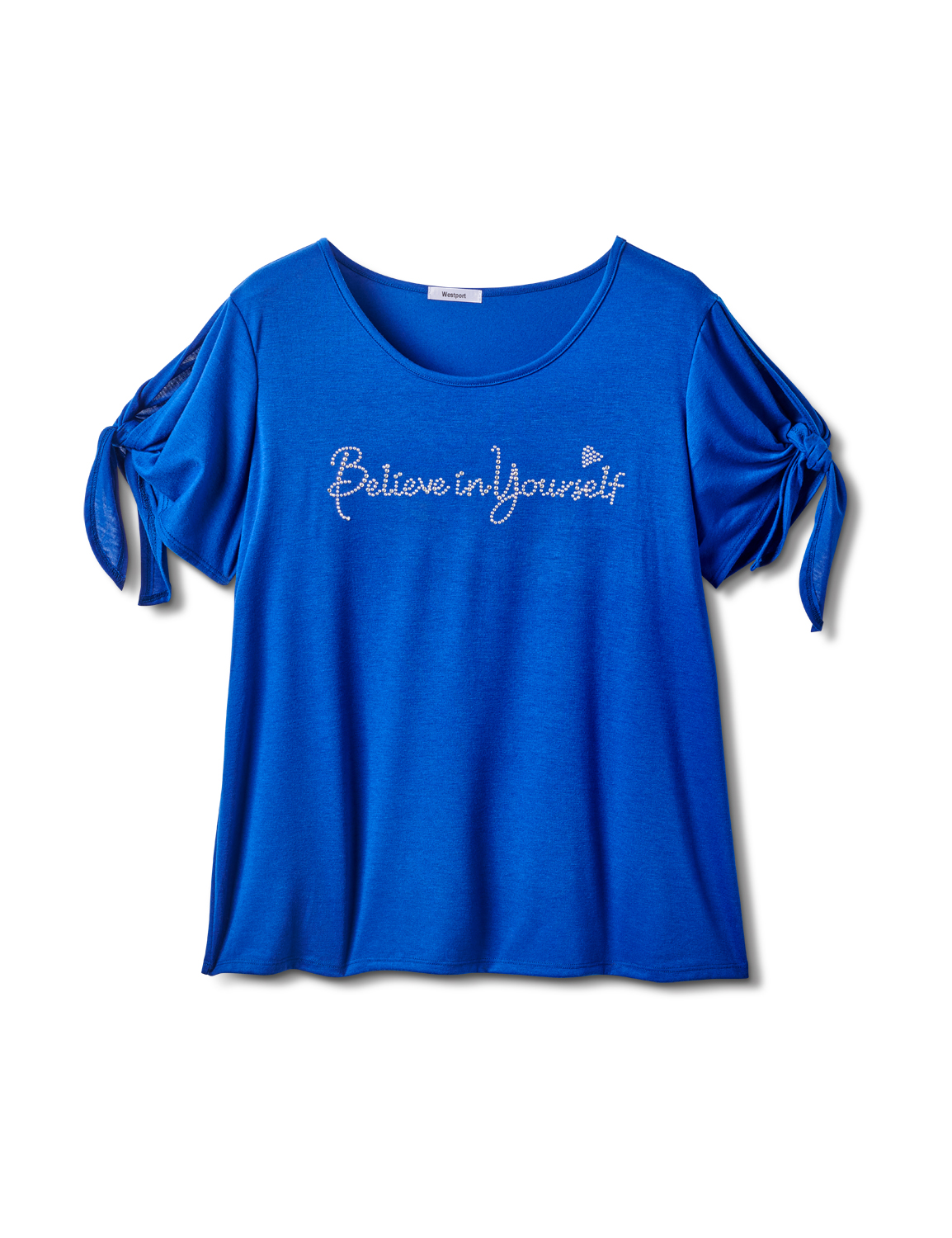 """Believe In Yourself"" Cold Shoulder Tee - Plus -Blue - Front"