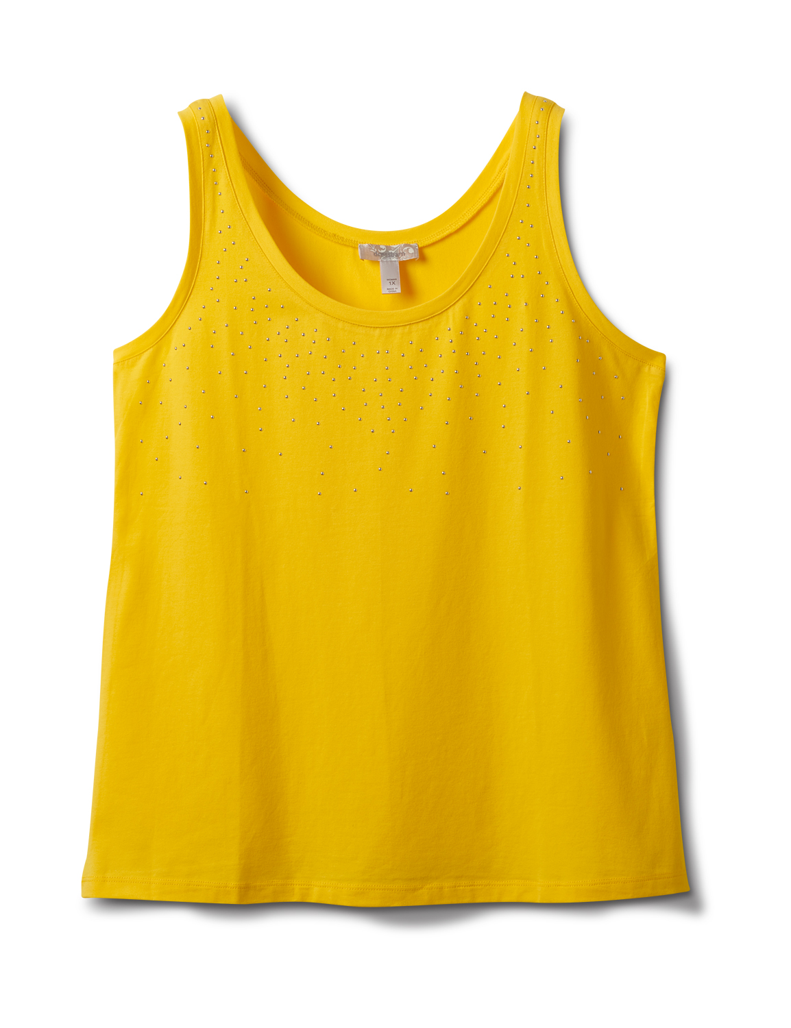 Studded Knit Tank - Plus -Gold - Front