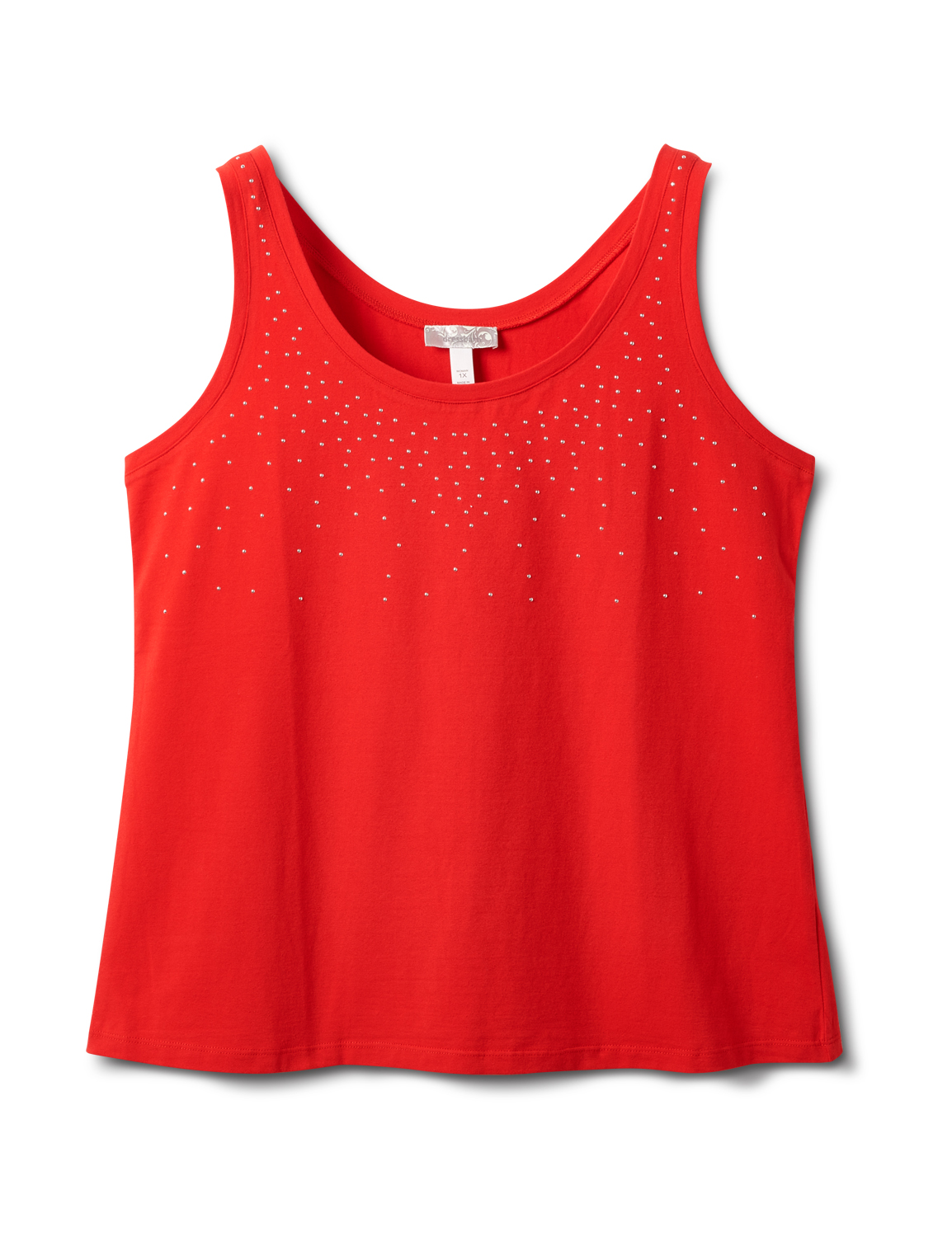 Studded Knit Tank - Plus -Red - Front