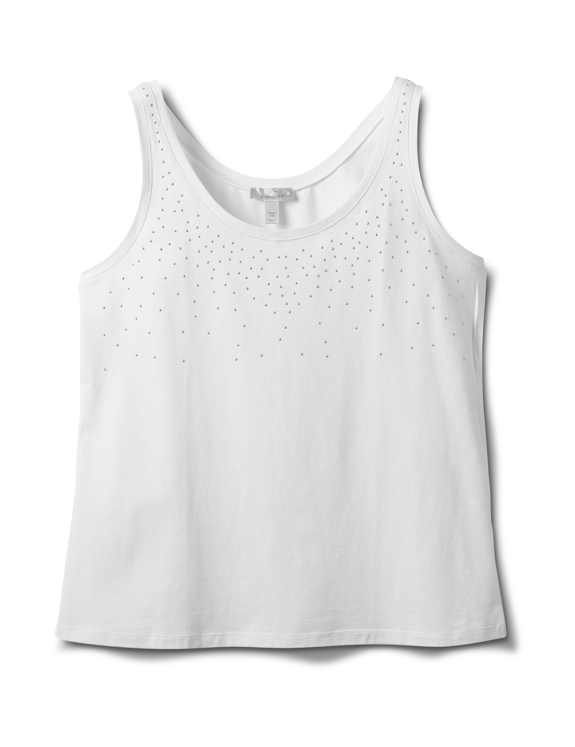 Studded Knit Tank - Plus -White - Front