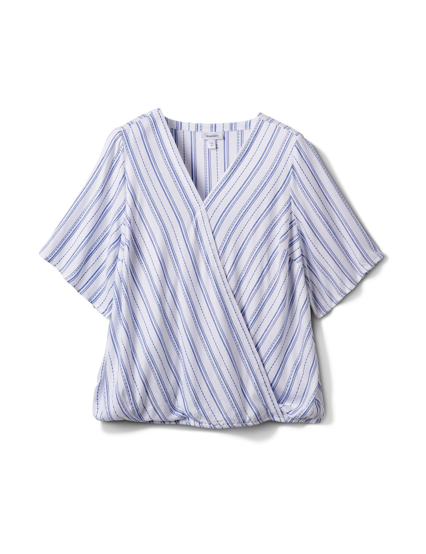 Stripe Wrap Hi-Lo Top - Plus -Blue/White - Front