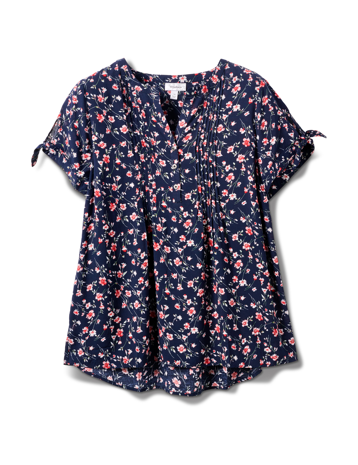 Floral Pintuck Tie Sleeve Popover - Plus -Navy - Front