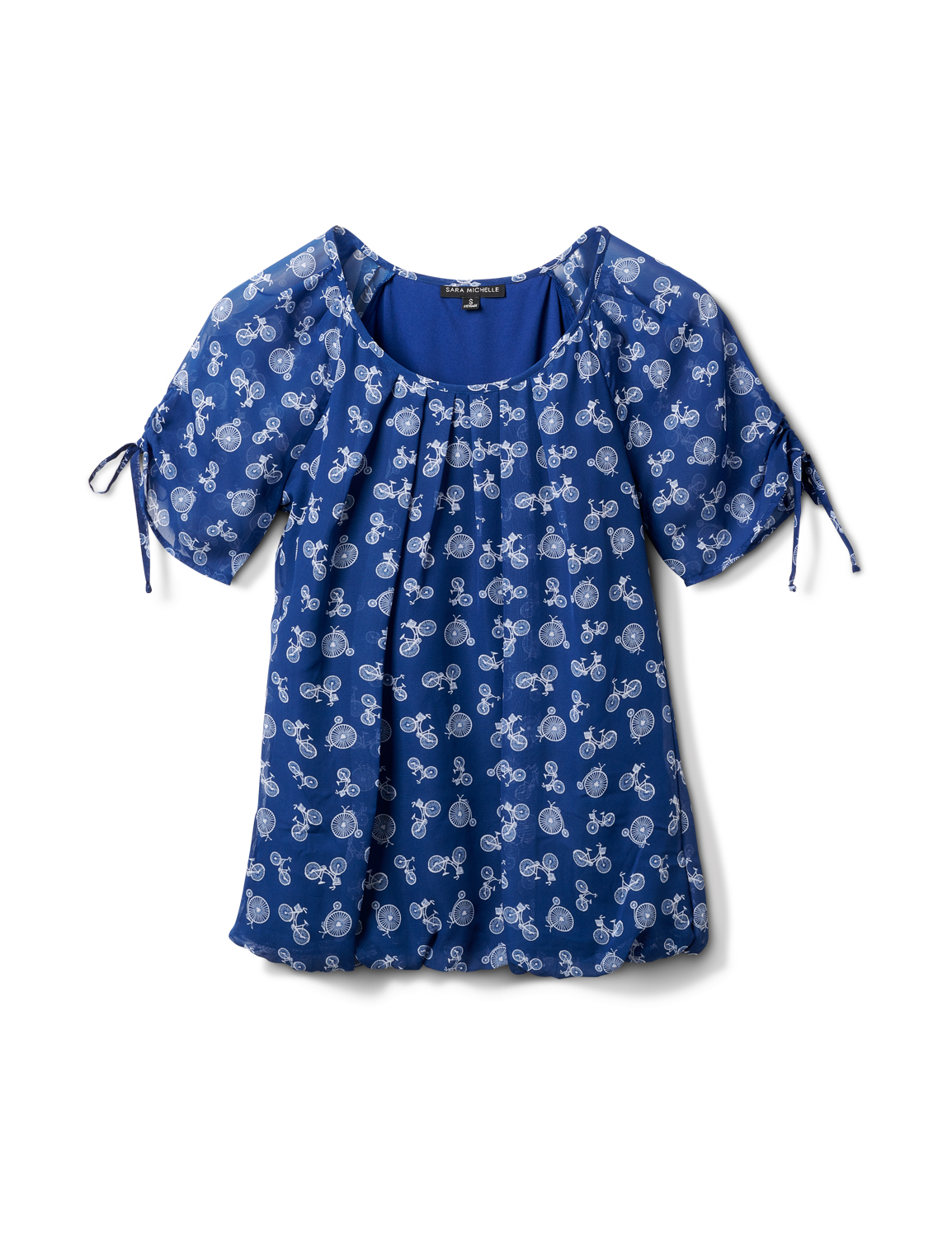 Bicycle Bubble Hem Tie Sleeve Top -Navy/White - Front