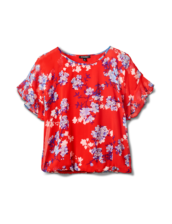 Floral Cold Shoulder Bubble Hem Top - Misses - Red - Front