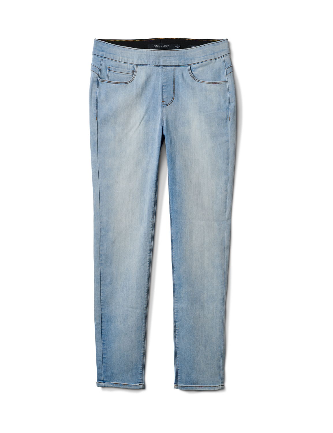 Mid Rise Skinny Pull On Jean Pants - Front And Back Pockets -Bleach - Front