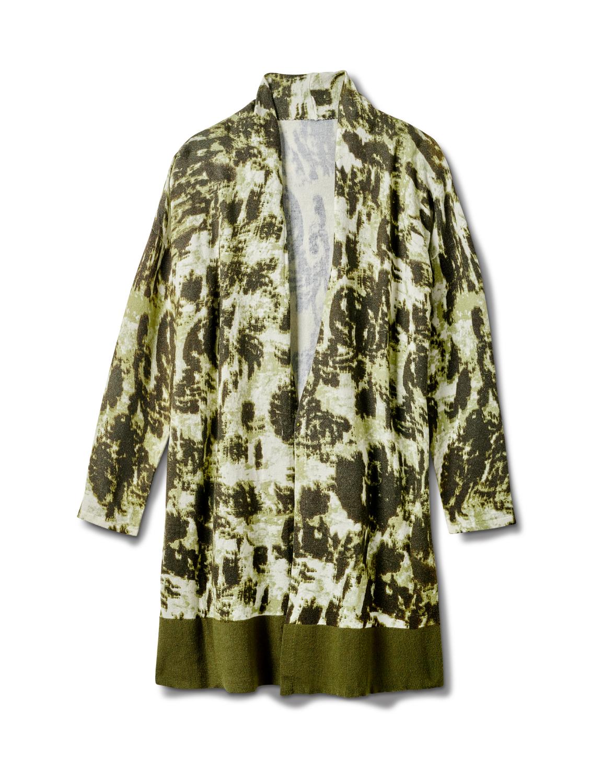 Roz & Ali Tie Dye Duster - Plus -Olive - Front