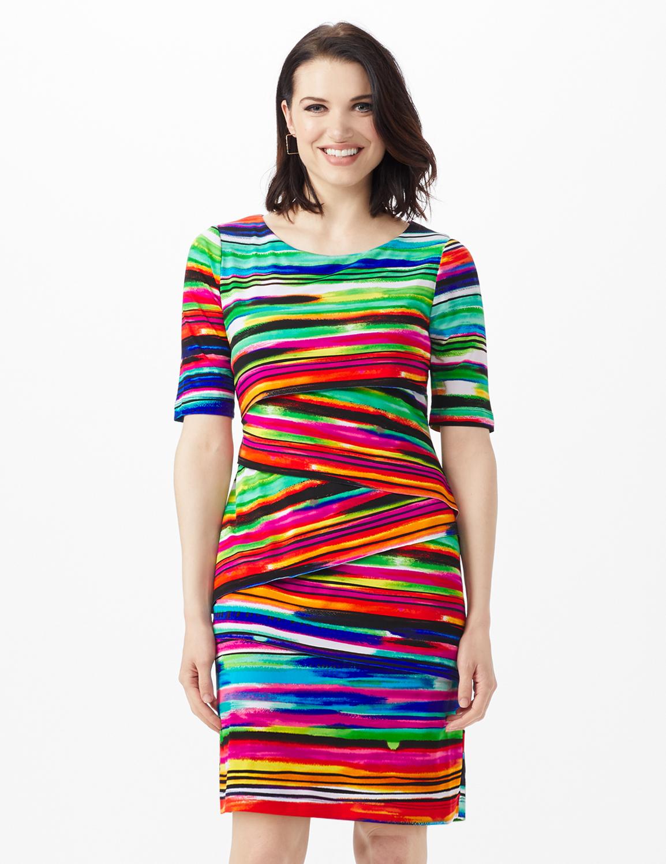 Elbow Sleeve Watercolor Stripe Bandage Dress -Royal - Front