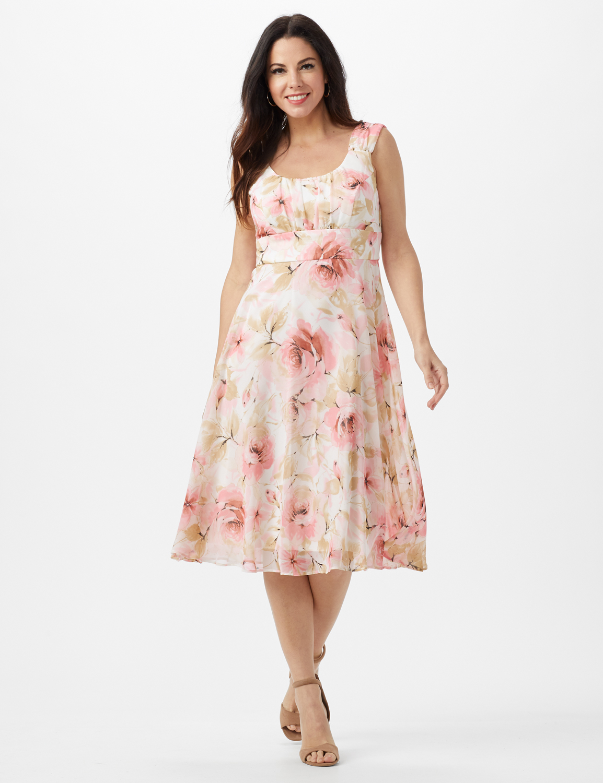 Rose Floral Emma Style Sleeveless Chiffon Dress -Rose - Front