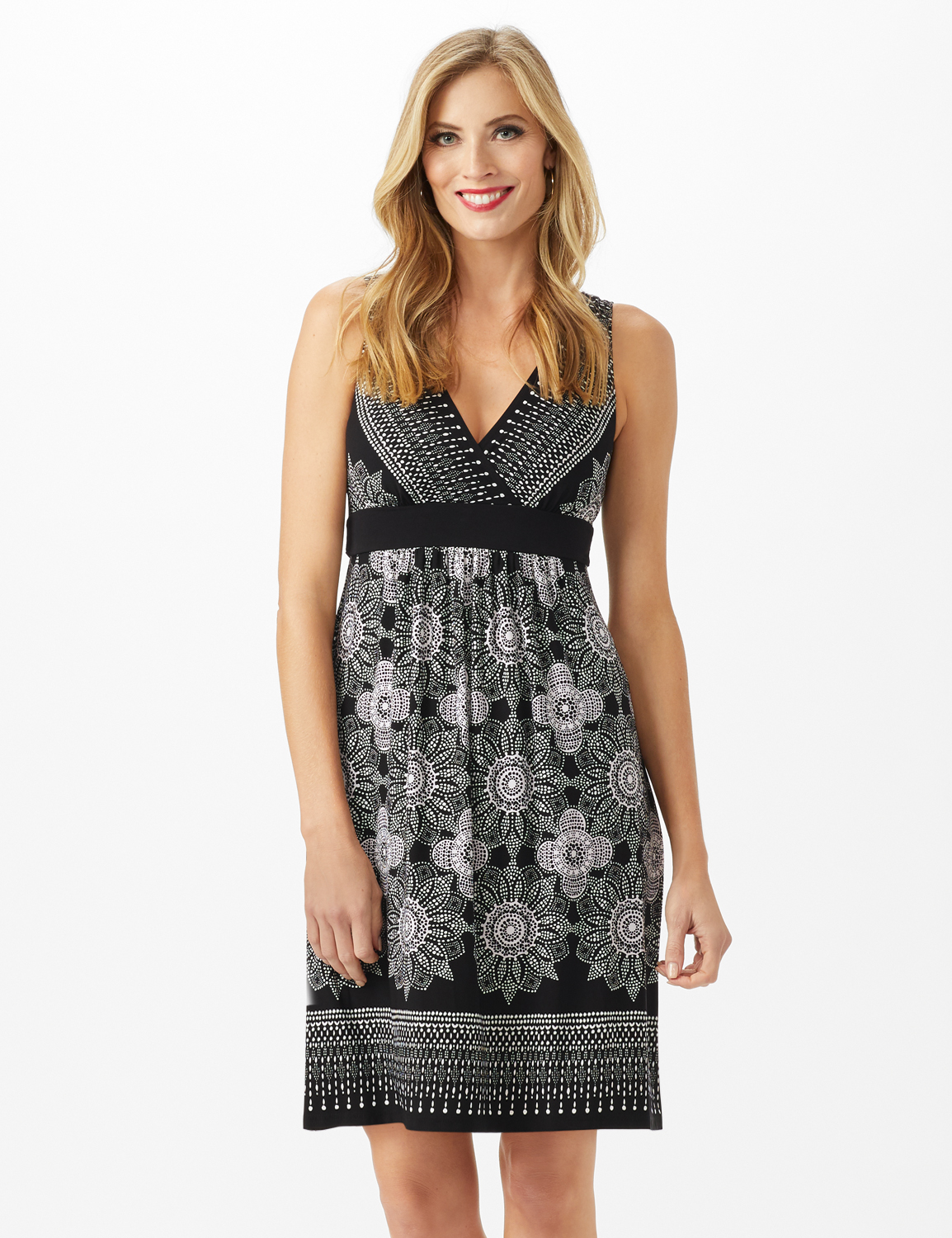 V-Neck Placed Boarder Mixed Print Dress -Black - Front