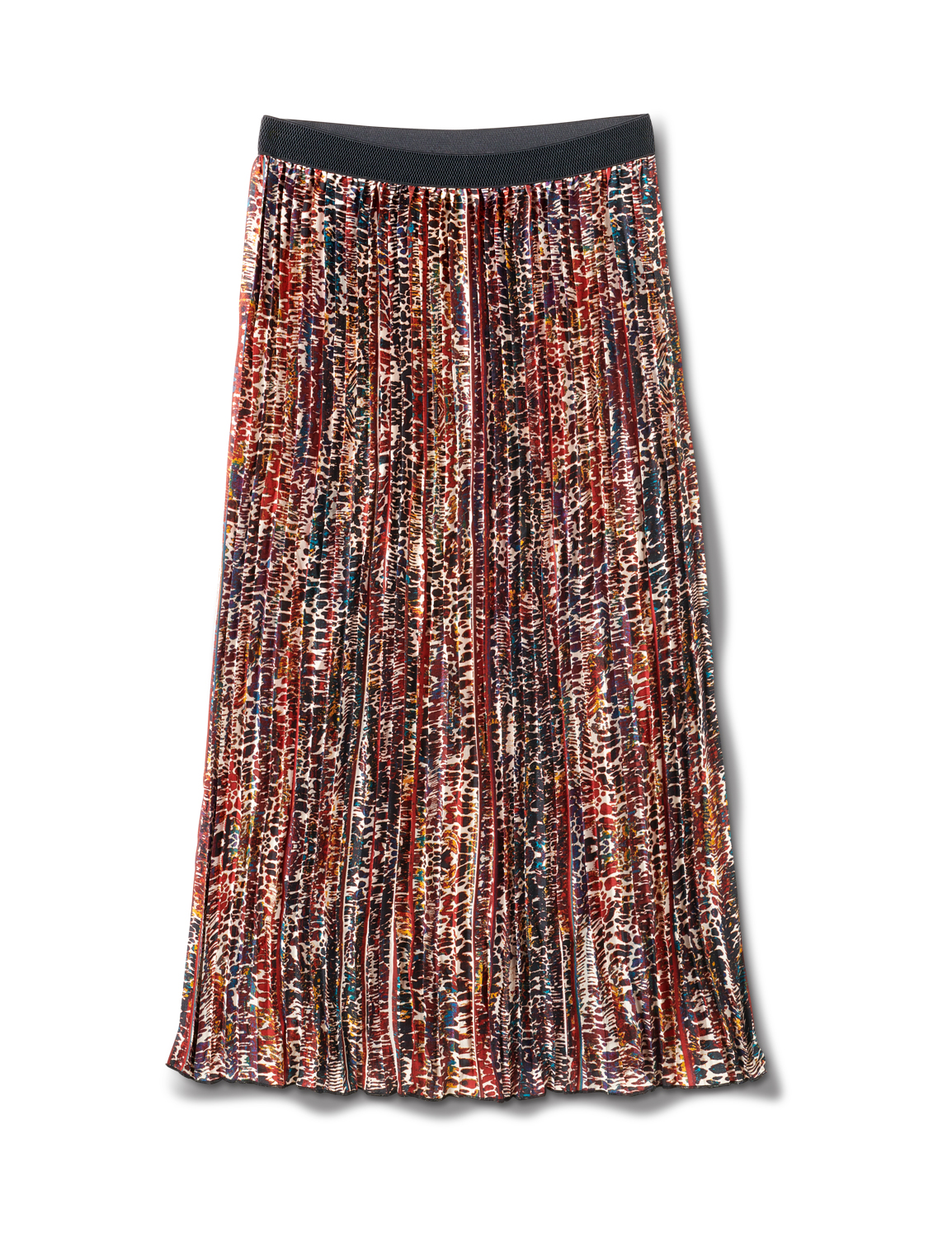 Printed Pleated Skirt With Contrast Elastic Waistband - Animal - Front