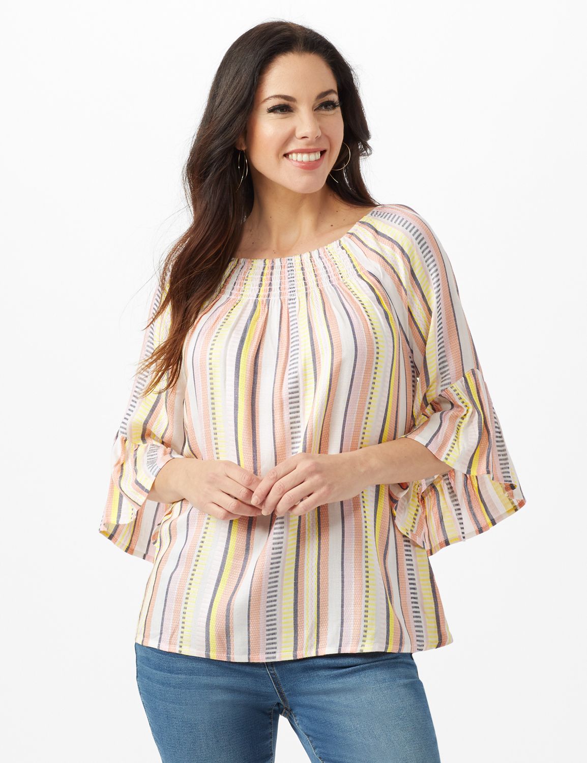 Textured Stripe Flared Sleeve Top -Coral - Front
