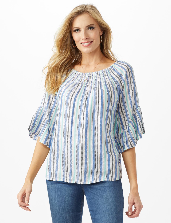 Lurex Textured Stripe Peasant Top -Blue - Front