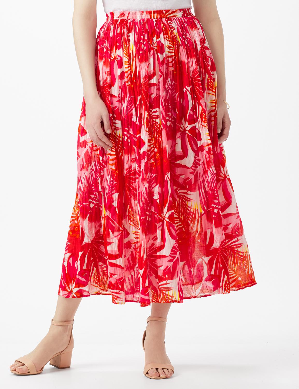 Elastic Waist Crinkle Pull On Skirt - Hot Pink - Front