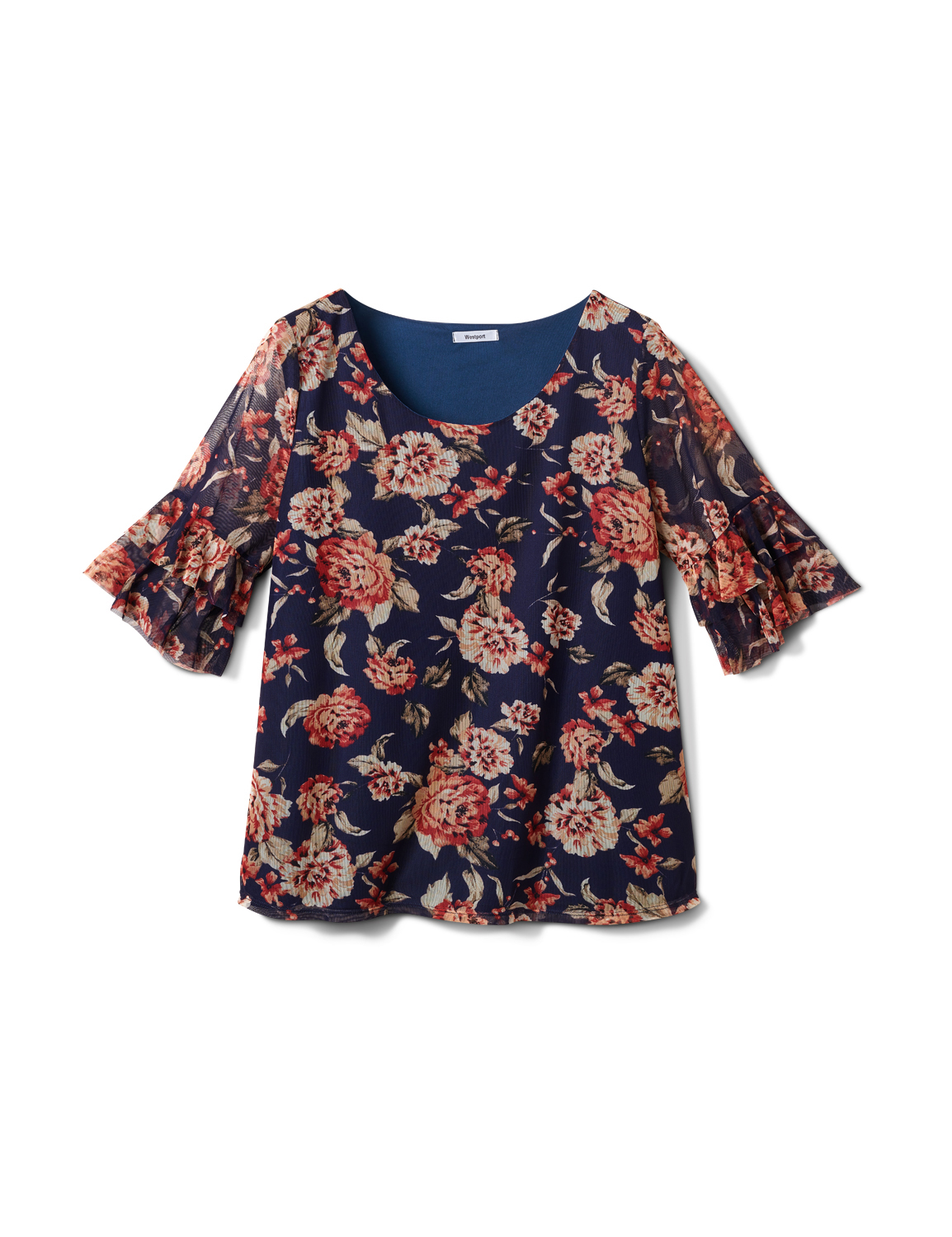 Floral Mesh Ruffle Sleeve Knit Top - Plus -Navy - Front