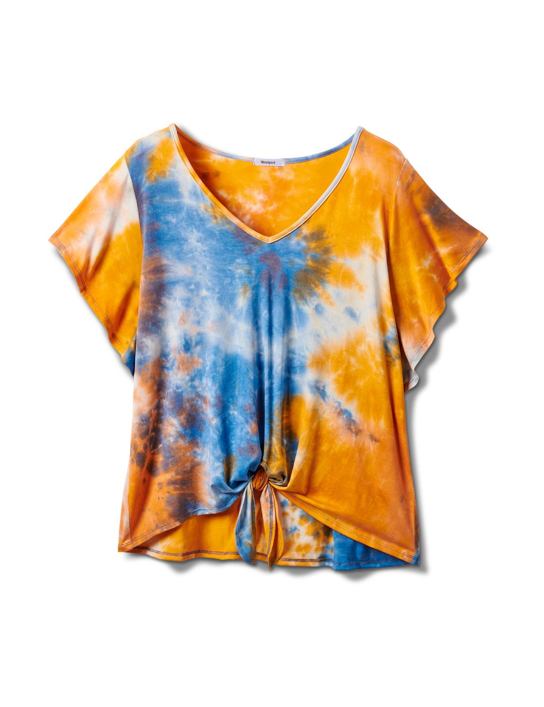 Tie Dye Tie Front Knit Top -Orange - Front