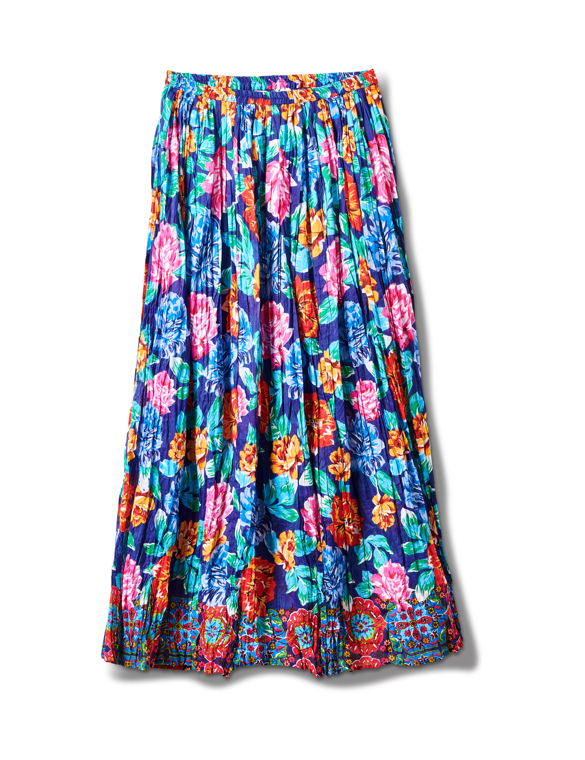 Printed Border Print Crinkle Skirt -Navy - Front