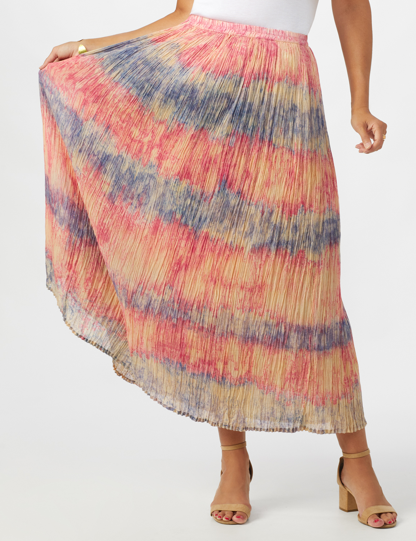 Pull On Crinkle Skirt -Indigo/ Coral - Front