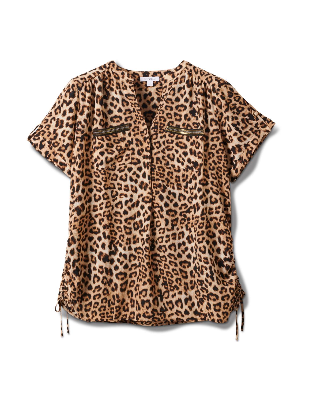 Animal Side Tie Woven Top - Plus -Black-tan - Front