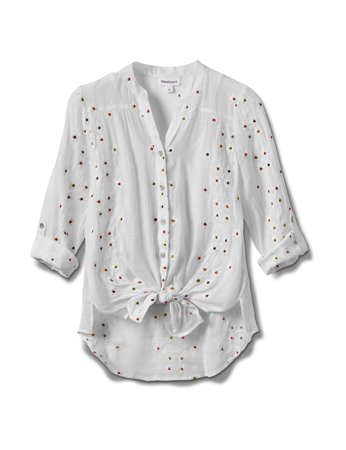 Westport Embroidered Button Front Shirt - Misses -White - Front