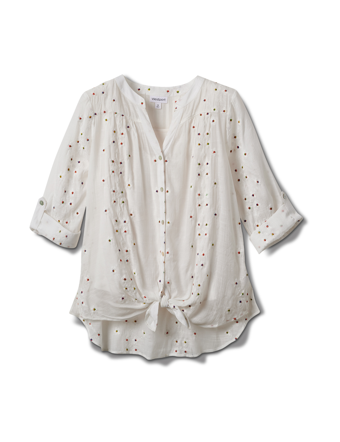 Westport Embroidered Button Front Shirt - Plus - White - Front