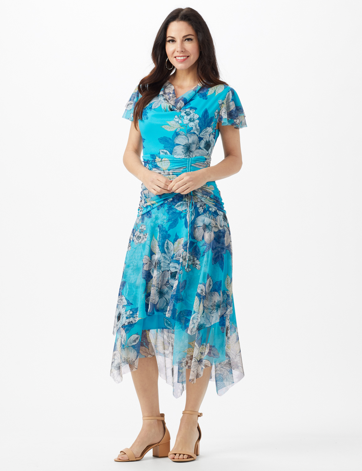 Mesh Floral Drape Neck Gathered Waist with Side Tie -Turq/Sand - Front