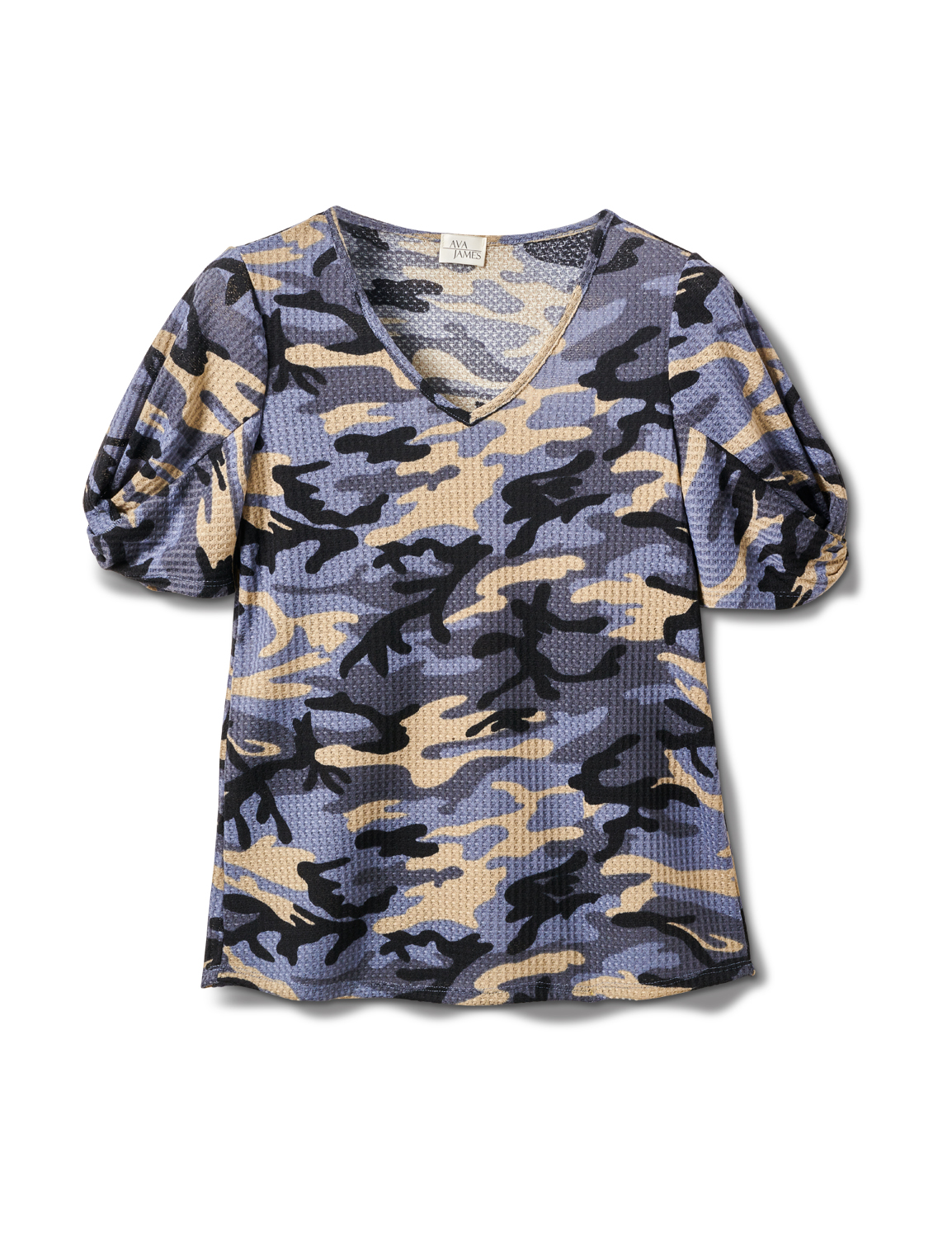 Camo Twist Sleeve Thermal Knit Top - Misses -Demim - Front