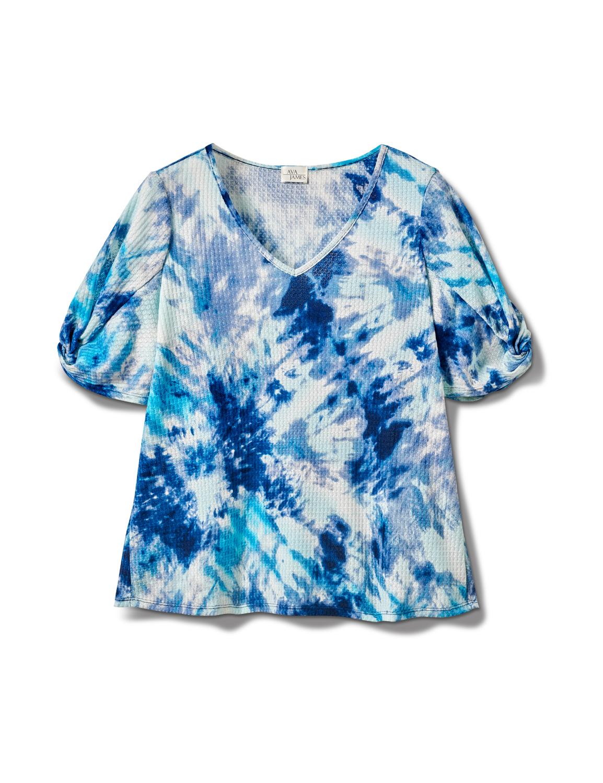 Tie Dye Twist Sleeve Thermal Knit Top - Plus -Blue - Front