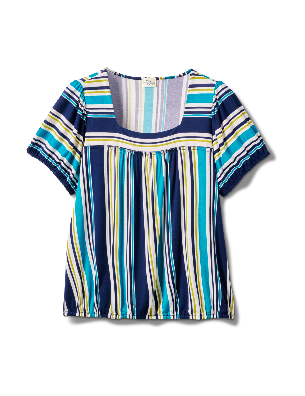 Stripe Square Neck Knit Top - Plus -Turq - Front