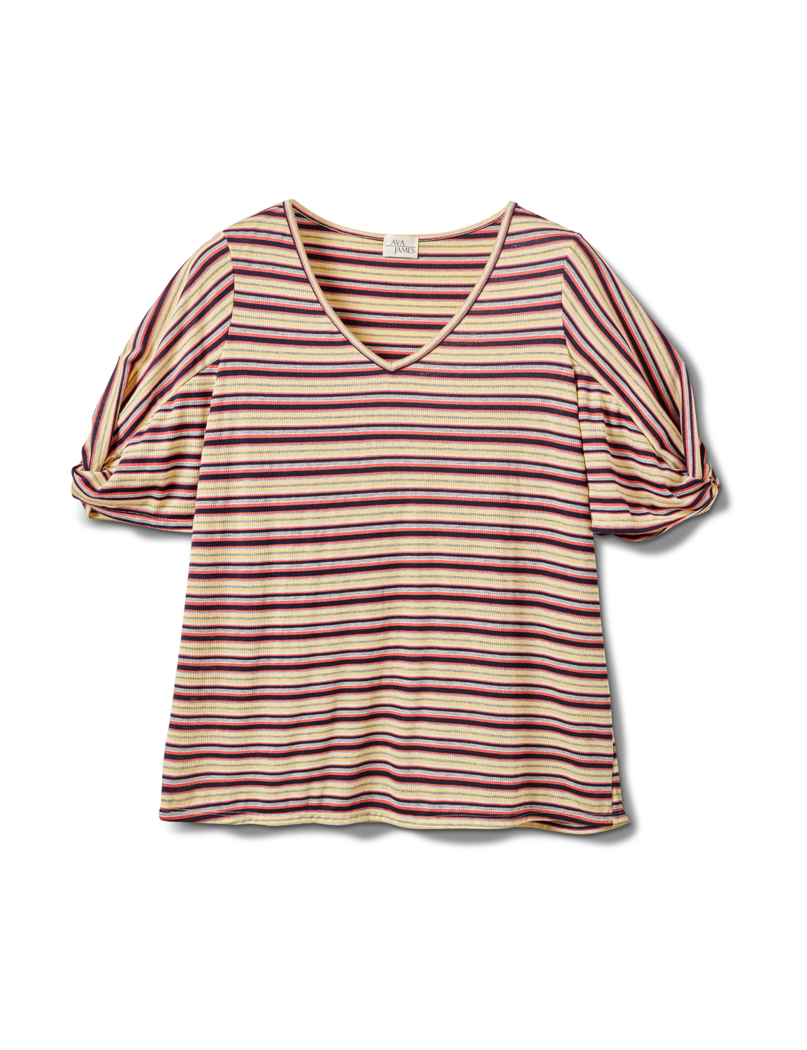 Rib Stripe Thermal Tee - Plus -Banana - Front
