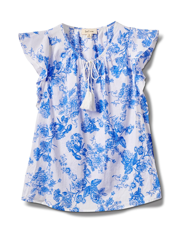 Floral Voile Woven Peasant -Antique Blue - Front