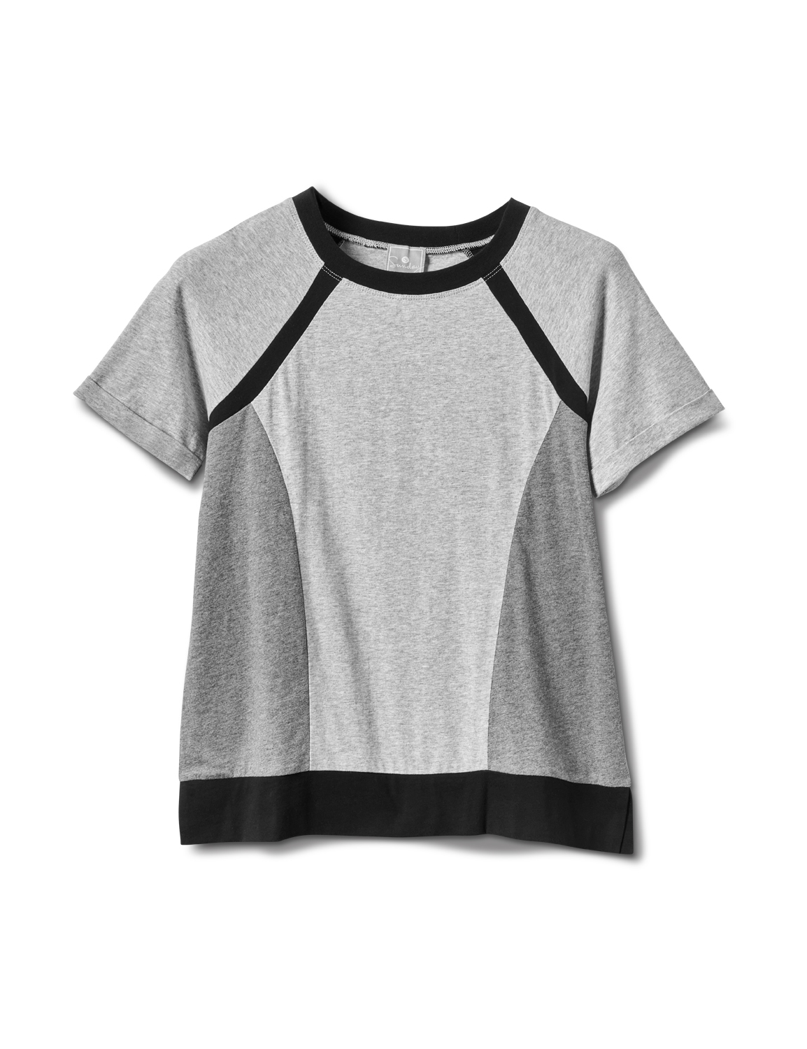Color Block Knit Top -Grey/Black - Front