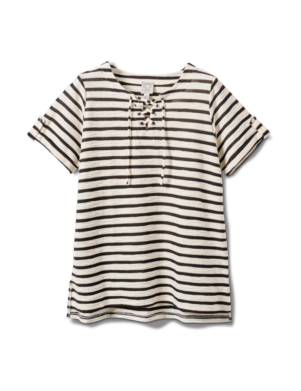Lace Up Stripe Knit Top - Plus -Black/White - Front