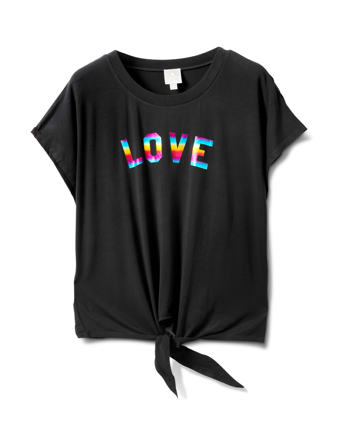 "Ombree ""Love ""Tie Front Knit Top - Plus -Black - Front"