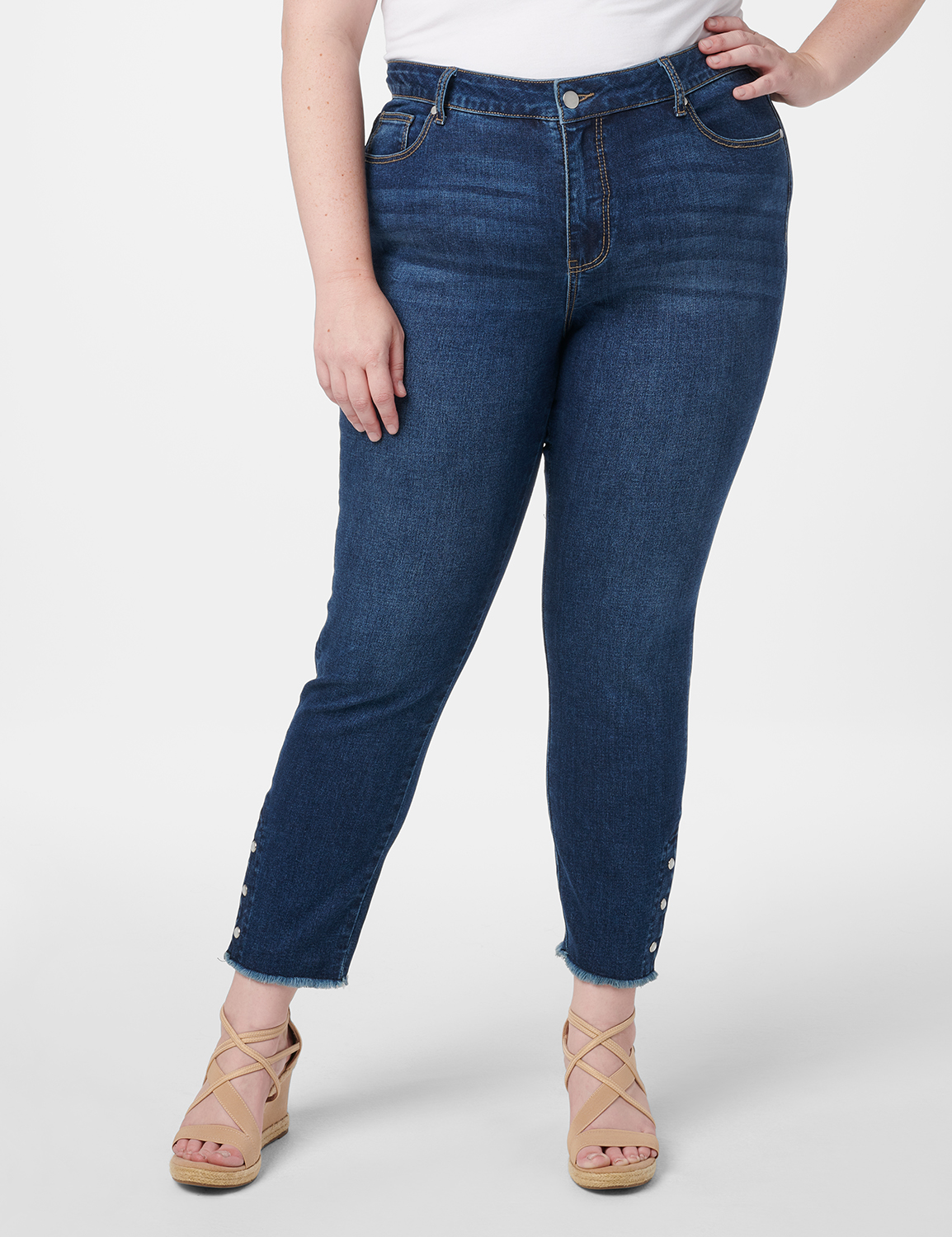 Westport Signature 5 Pocket Skinny Ankle Jean With Snap Button At Ankle - Plus -Dark Wash - Front