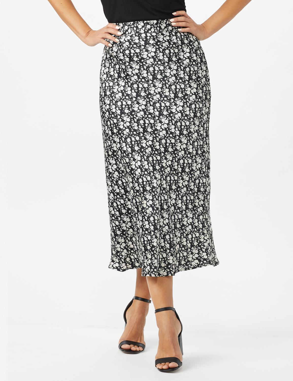 Floral Printed Slip Skirt -Black /White - Front