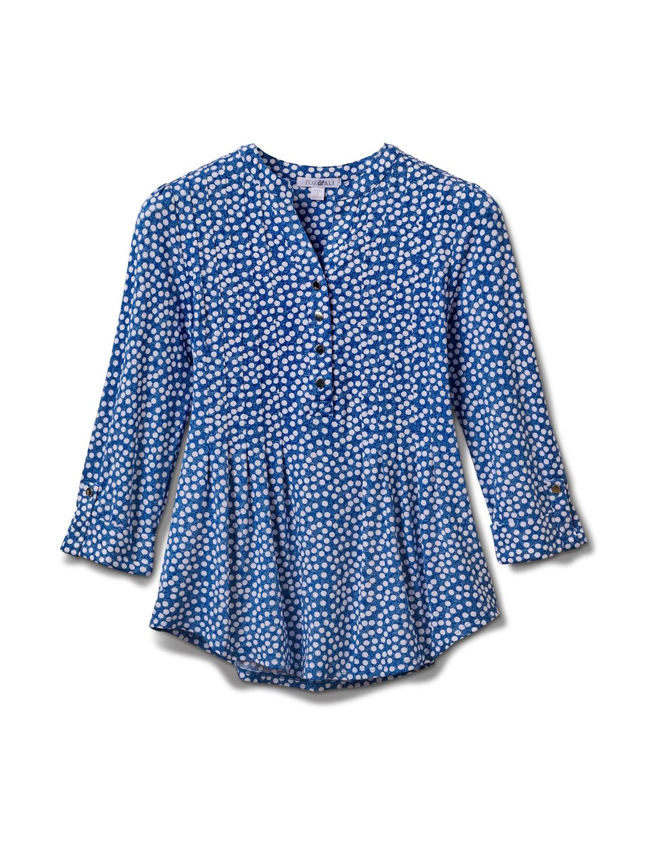 Denim Dot Pintuck Popover Knit Top-Petite - Denim - Front