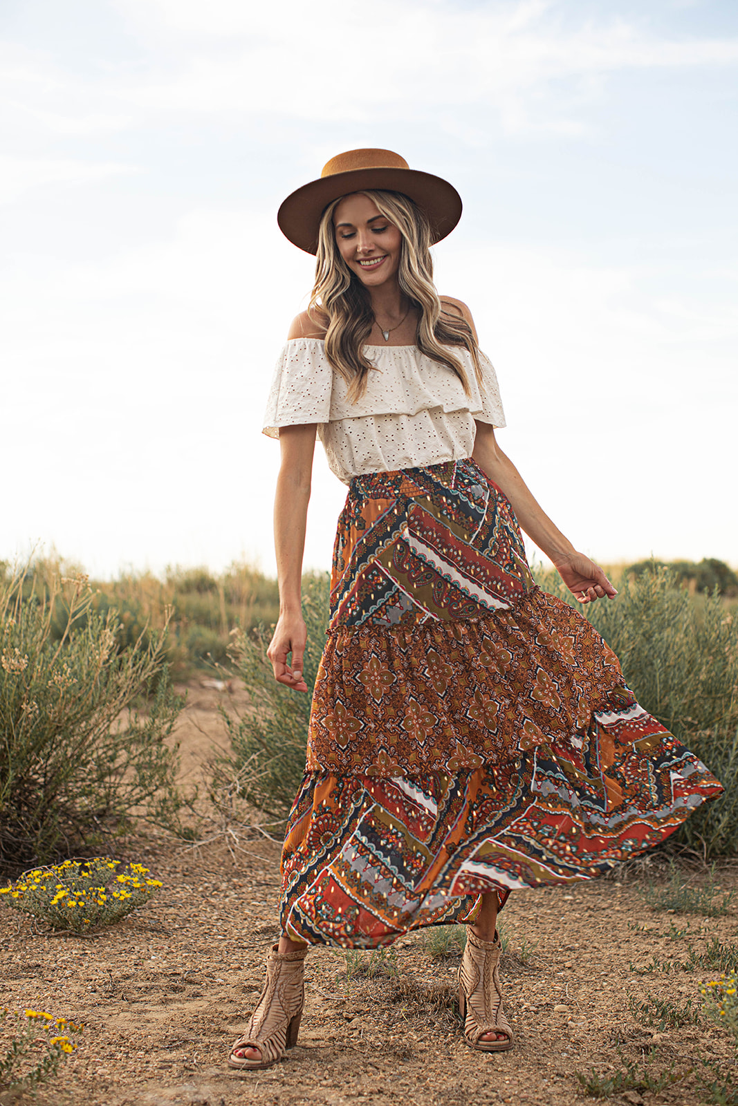Elastic Waistband Pullon 3 Tiered Maxi Skirt -Copper - Front