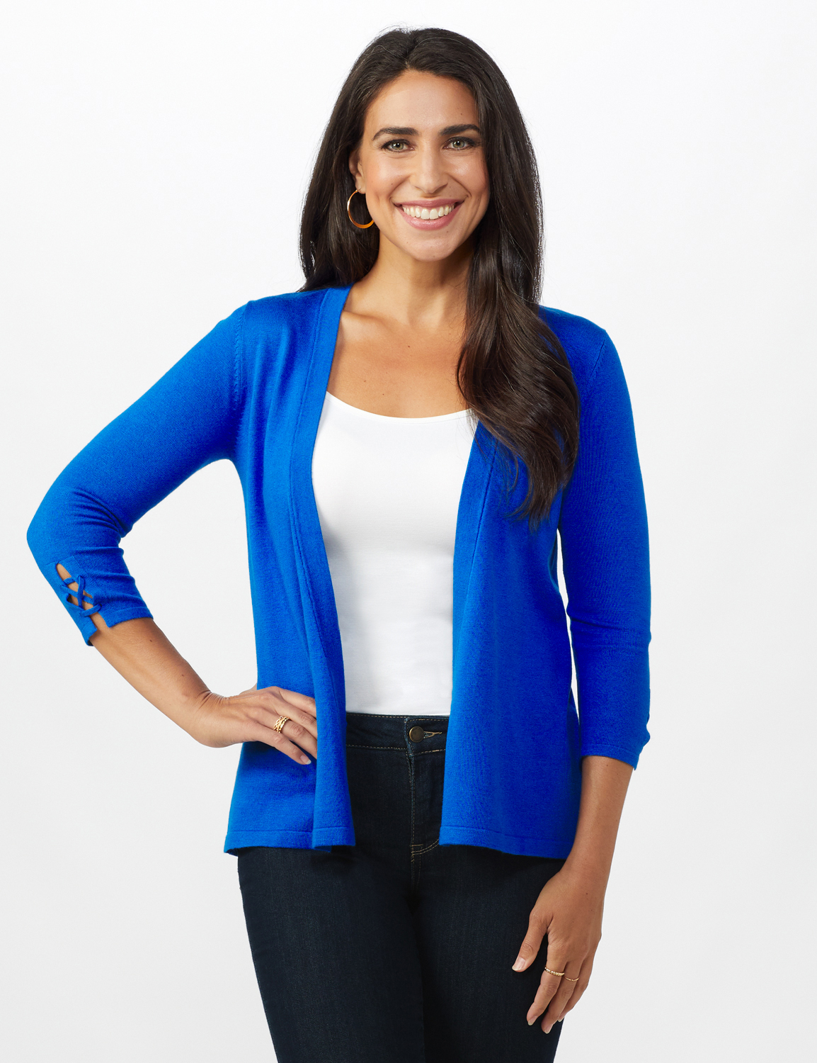 Roz & Ali Lace-Up Back Cardigan - Misses - Masquerade Blue - Front