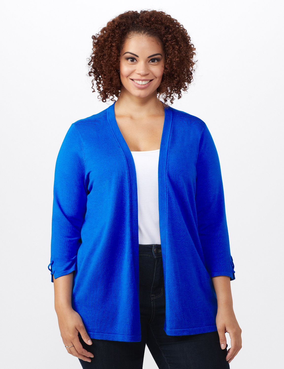 Roz & Ali Lace-Up Back Cardigan - Plus - Masquerade Blue - Front