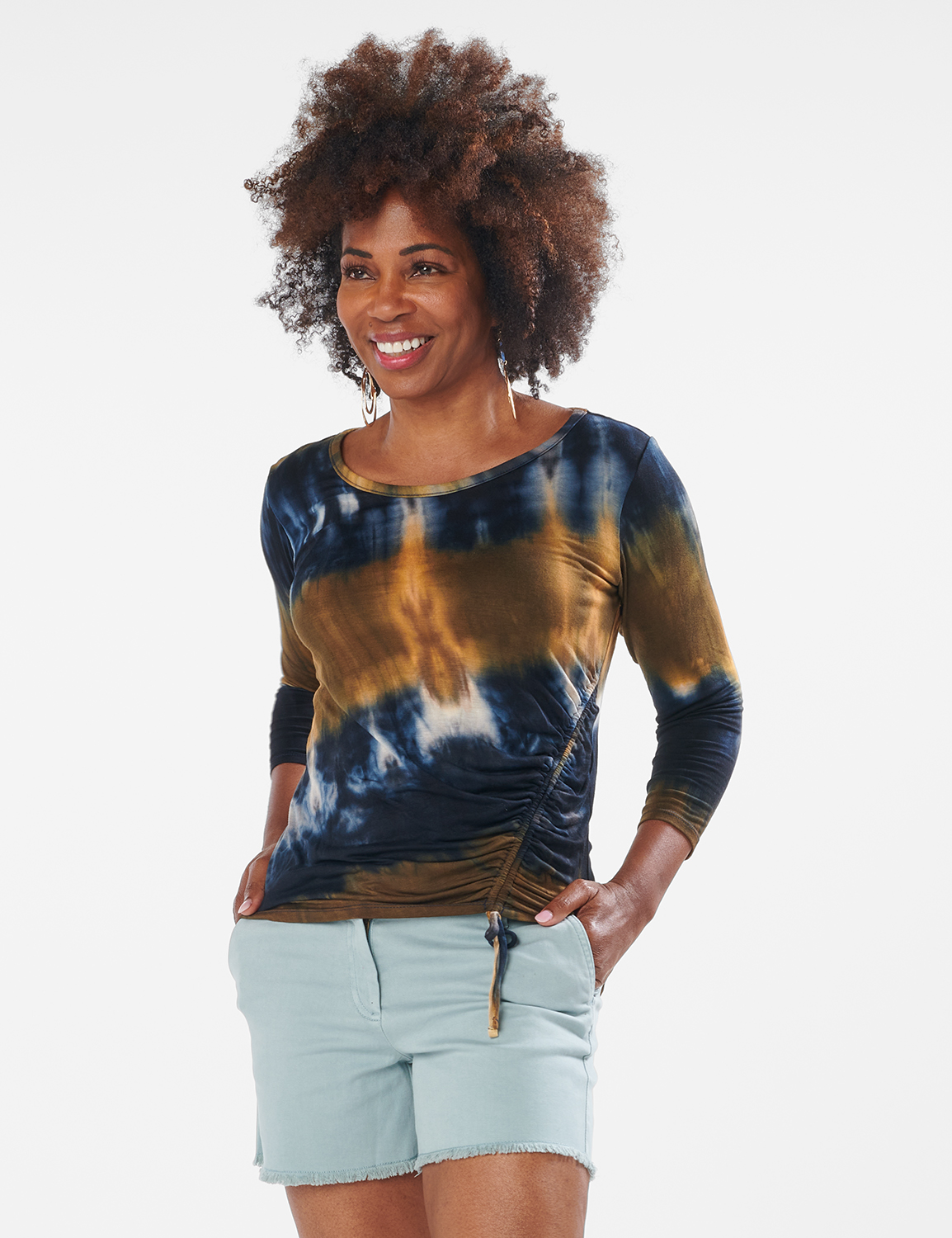 Tie Dye Side Cinched Knit Top - Misses -Olive - Front