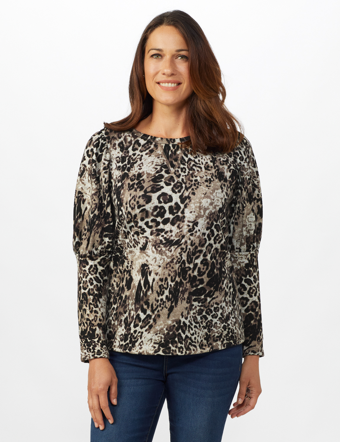 Puff Shoulder Animal Knit Top - Misses - Taupe - Front